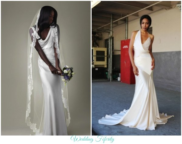 Silk Wedding Dress Fabric Column Sheath