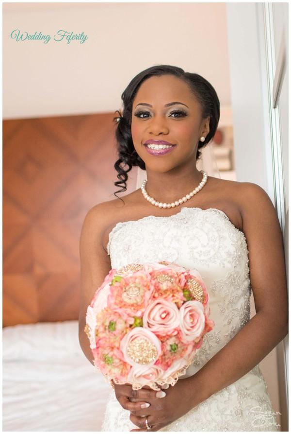 nigerian-wedding-bride-pink-bouquet-flowers