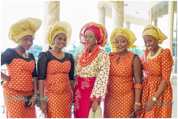 orange and gold aso ebi