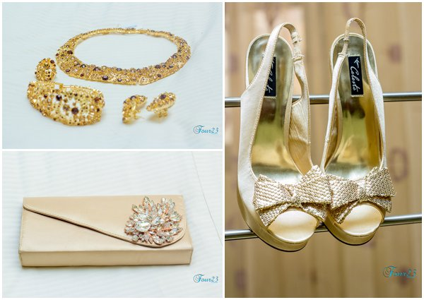 gold shoes, a gold bag and jewelry