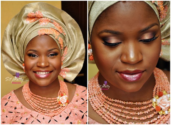 nigerian-traditional-attire-pink-gold-wedding-beads-corals