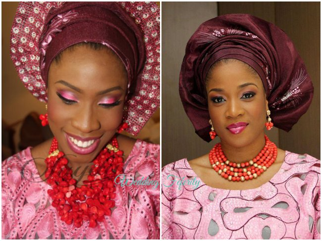 nigerian-wedding-traditional-attire-asoke-wine-gele-pink-lace