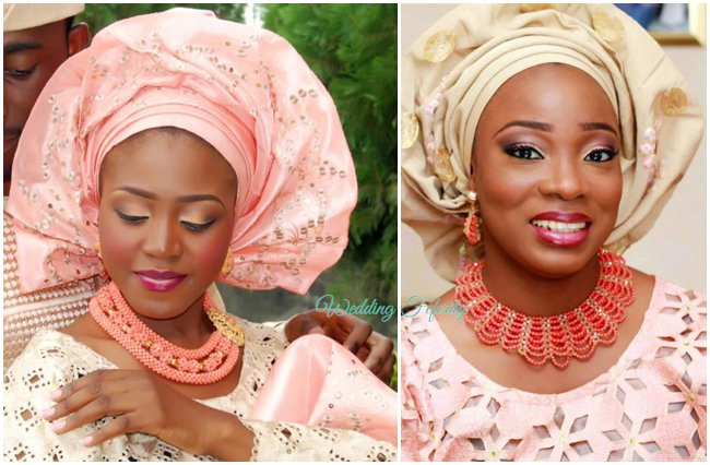 nigerian-wedding-traditional-attire-pink-gold-asoke-lace