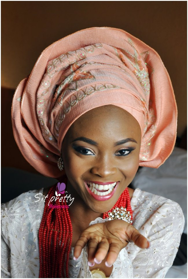 nigerian-wedding-traditional-pink-gele-red-corals