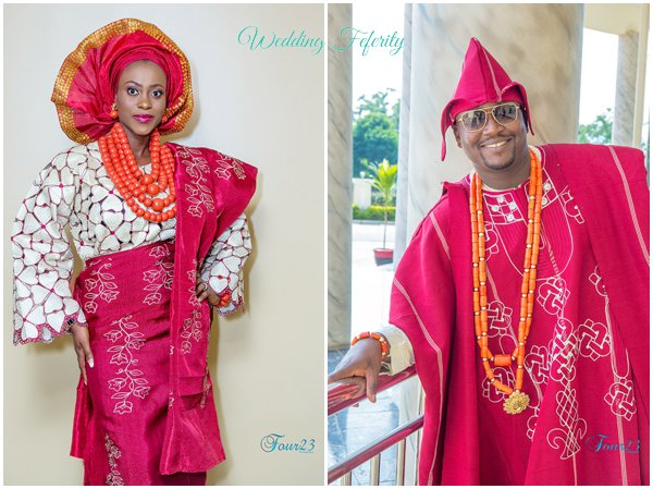 yoruba groom and bride traditional attire