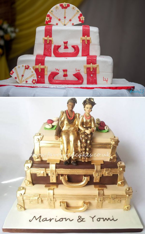traditional wedding cake suitcases