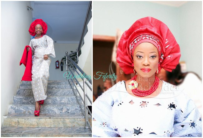 yoruba-wedding-aso-oke-red-gele-silver-lace-wedding-feferity