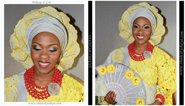 yoruba-wedding-attire-aso-oke-lace-yellow-grey-beads-wedding-feferity-fan