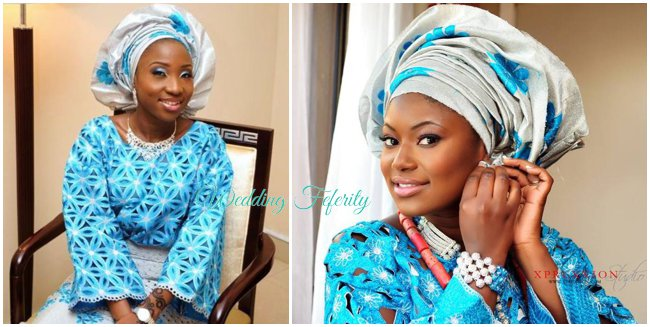 yoruba-wedding-attire-blue-silver-aso-oke-lace-wedding-feferity