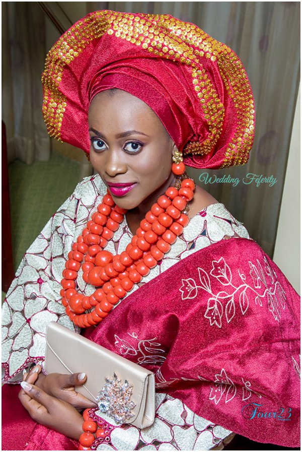 red aso oke sequin gele
