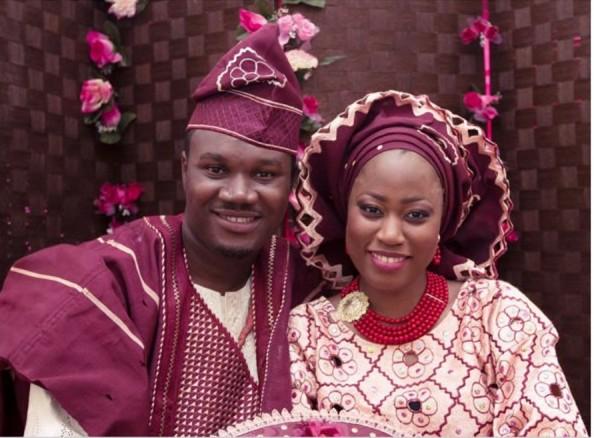 Wedding Ceremony Wine And Pink Yoruba Attire