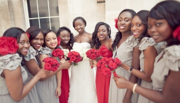 grey and red bridesmaids dresses