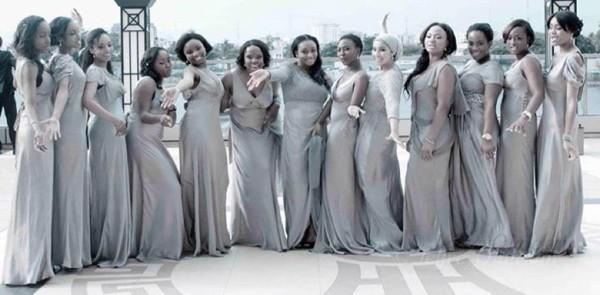 nigerian bridesmaids in grey