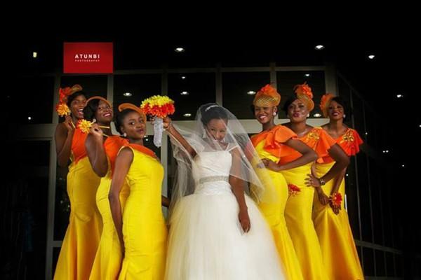 yellow and orange bridesmaids