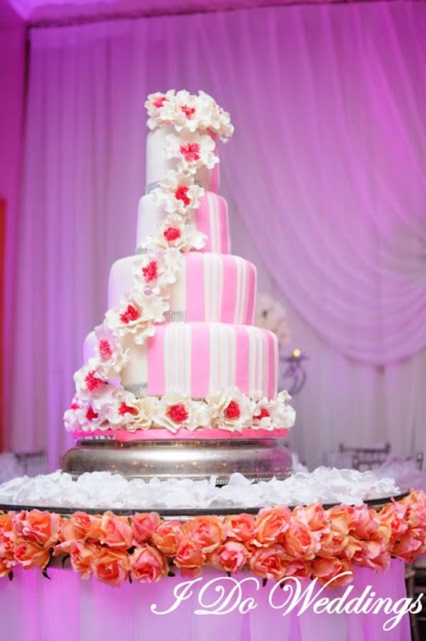Black And White Wedding Cake Pink