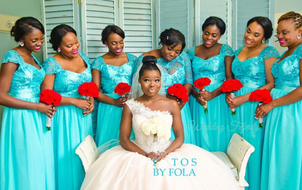 Blue Bridesmaids Nigeria Wedding Feferity 6