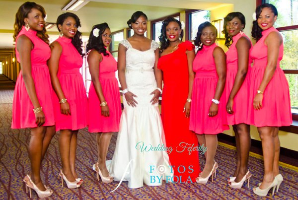Red Bridesmaids Dresses Wedding Feferity 13
