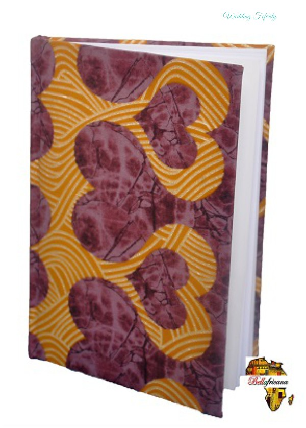 Gold patterned heart shaped notebook bellafricana