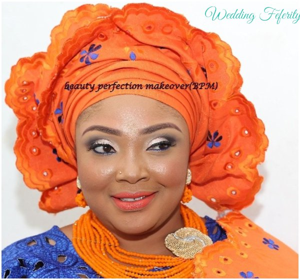yoruba-bride-blue-orange-attire-wedding-feferity