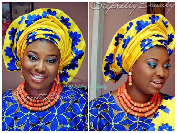 yoruba-bride-bright-blue-yellow-lace-aso-oke-wedding-feferity