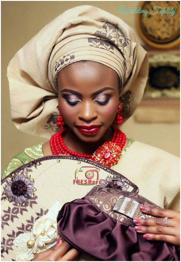 yoruba-bride-brown-green-lace-aso-oke-wedding-feferity