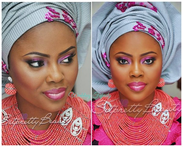 yoruba-bride-fucshia-pink-grey-lace-aso-oke-wedding-feferity