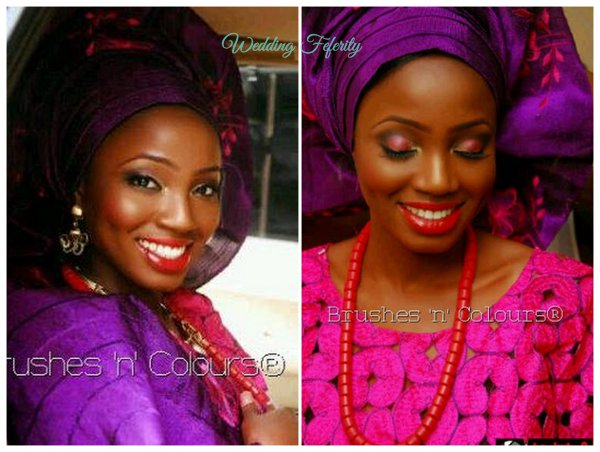 yoruba-bride-fucshia-pink-purple-lace-aso-oke-wedding-feferity