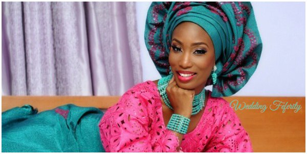 yoruba-bride-green-pink-lace-aso-oke-wedding-feferity