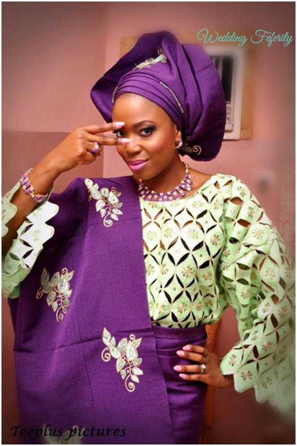 yoruba-bride-green-purple-lace-aso-oke-wedding-feferity