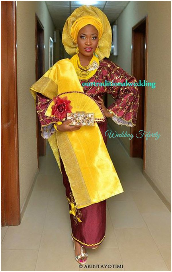 yoruba-bride-mustard-burgundy-lace-aso-oke-wedding-feferity