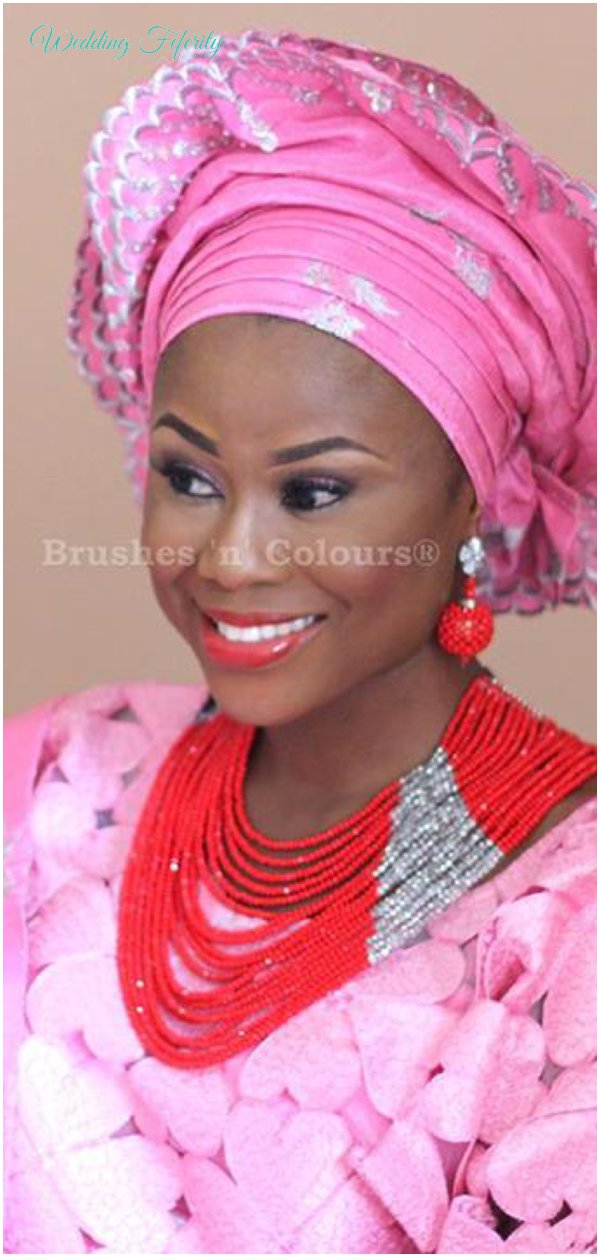 yoruba-bride-pink-aso-oke-lace-red-beads-wedding-feferity