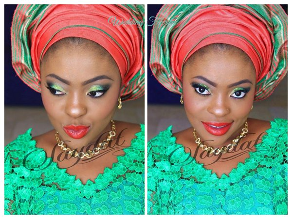 yoruba-bride-red-green-lace-aso-oke-wedding-feferity