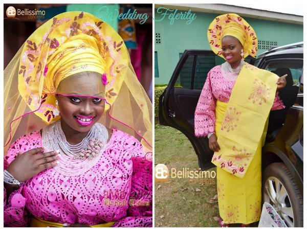 yoruba-bride-yellow-pink-lace-aso-oke-wedding-feferity