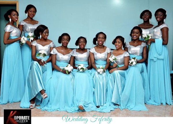 Blue Silver Bridesmaids Dress
