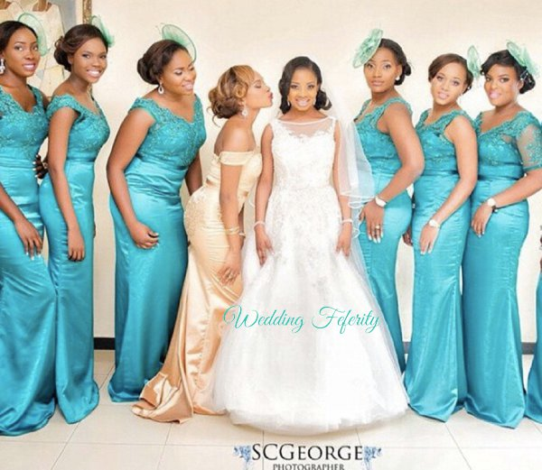 Teal Blue Bridesmaids Gown