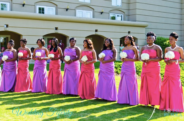 pink purple bridesmaids dresses