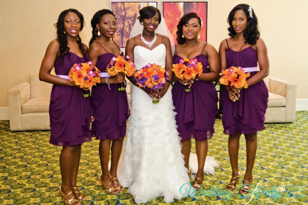 short purple bridesmaids dresses
