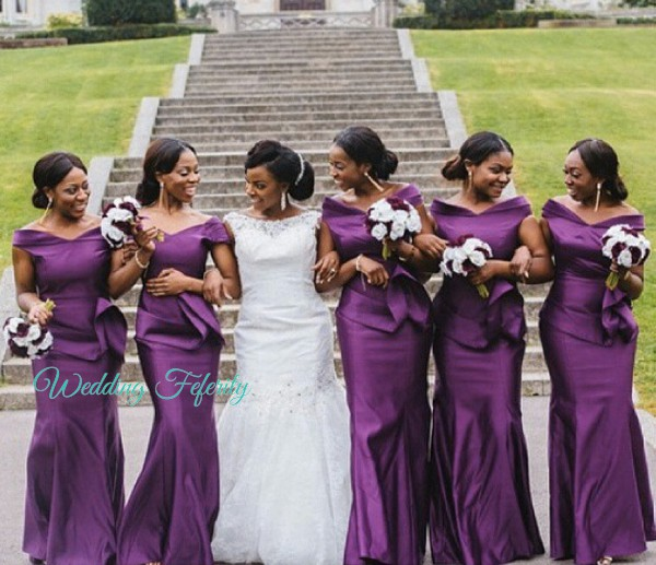 african bridesmaids in purple