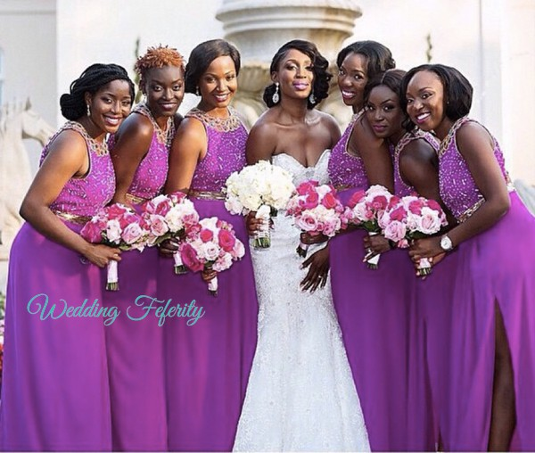 african american bridesmaids in purple