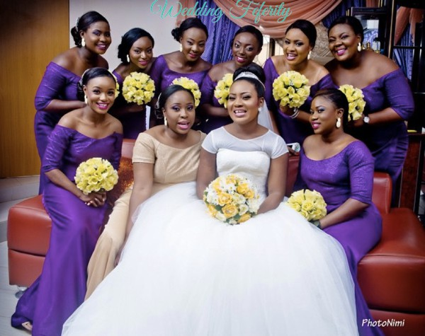 nigerian bridesmaids in purple