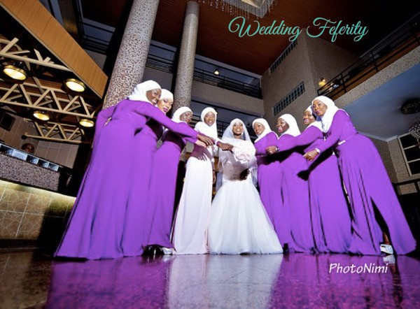 muslim nikkai bridesmaids in purple