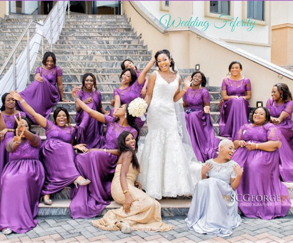 bridesmaids in purple nigerian wedding