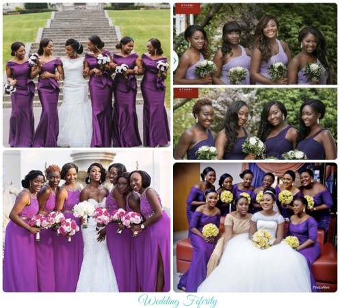 nigerian bridesmiads purple dresses
