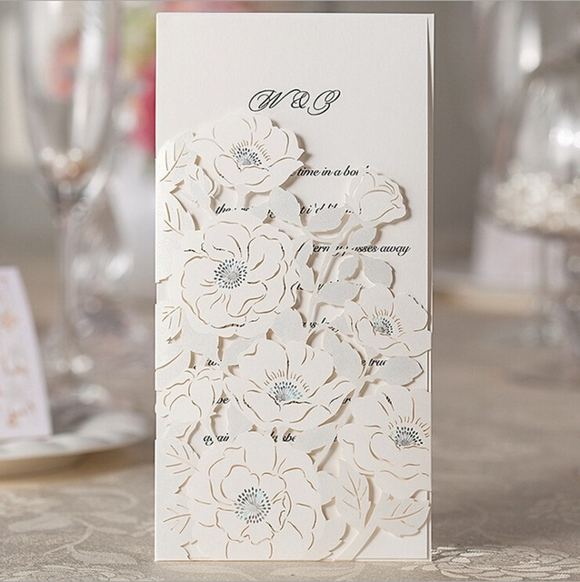 Romantic Floral Lasercut Wedding Invitation