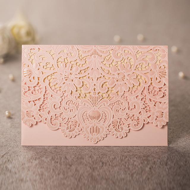 Pretty pink lasercut wedding invitation filmwisefo
