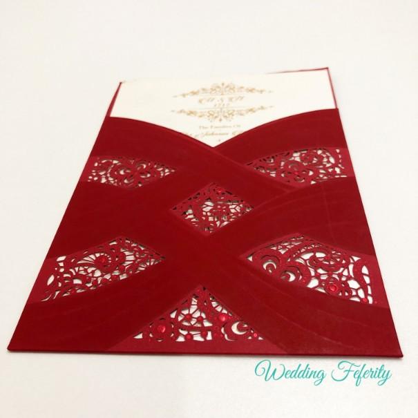 Red Pocket Wedding Invitation