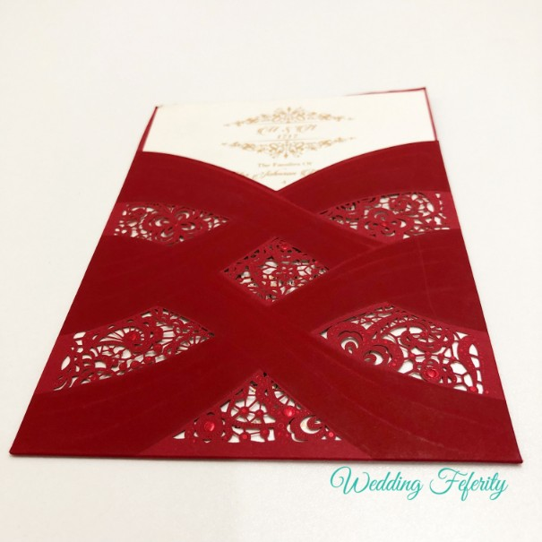 Typical Wedding Gift Amount: Red Pocket Wedding Invitation