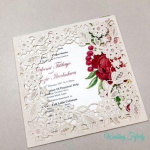 Wedding Invitation Cards.Floral Lasercut Wedding Invitation