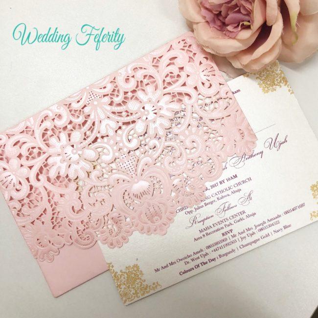Typical Wedding Gift Amount: Pink Opulent Wedding Invitation